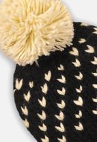 MINOTI - Girls jacquard pom pom hat - black & cream