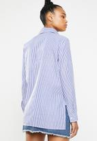 dailyfriday - Stripe embroidered shirt - blue