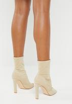 Public Desire - Craze sock fit peep toe ankle - neutral