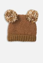 MINOTI - Knitted hat - tan & cream