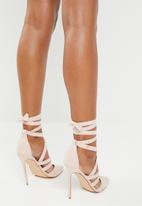 Public Desire - Blake strappy lace up court heel - pink