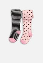 MINOTI - 2 pack tights with stripe & heart  - pink & charcoal