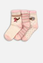 MINOTI - 3 pack ankle socks - pink & cream