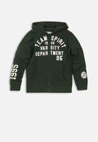 MINOTI - Boys hooded zip thru - green