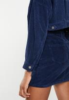 Missguided - Cropped drop shoulder cord jacket - navy