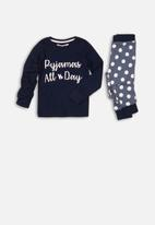 MINOTI - Girls all day long sleeve pyjama set - blue