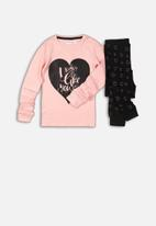 MINOTI - My heart long sleeve pyjama set - pink
