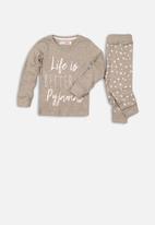 MINOTI - Girls star print long sleeve pyjama set - grey