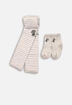MINOTI - 2 pack footless tights & socks with stripe - grey