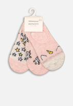 MINOTI - 3 pack pop socks - pink