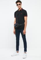 New Look - Stripe collar short sleeve polo - black