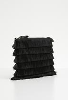 New Look - Layered tassel zip top clutch - black
