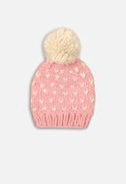MINOTI - Baby girls knitted hat - pink & cream