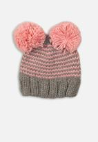 MINOTI - Knitted hat - grey & pink