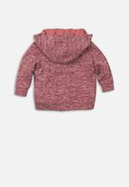 MINOTI - Mixed yarn zip thru top - red