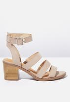 Cotton On - Faux leather stack heel - neutral