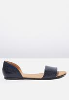 Cotton On - Faux leather snakeskin peep pump - navy