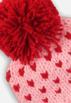 MINOTI - Girls knitted hat - pink & red