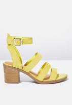 Cotton On - Faux leather stack heel - yellow