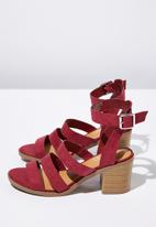 Cotton On - Faux leather stack heel - red