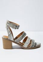 Cotton On - Faux leather snakeskin stack heel - grey