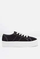 Cotton On - Canvas platform sneaker - black