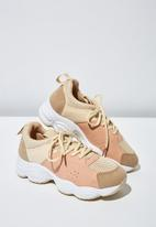 Cotton On - Faux suede combo chunky trainer - pink & neutral