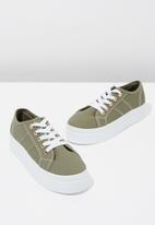 Cotton On - Canvas platform sneaker - khaki & white