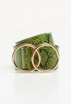 Missguided - Snake double ring belt - green & black