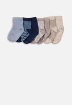 MINOTI - 7 Pack ankle socks - grey & blue