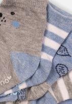 MINOTI - 5 Pack bear design ankle socks - blue & grey