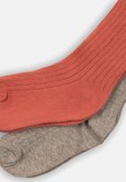 MINOTI - 2 pack ribbed tights - grey & coral