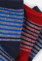 MINOTI - 3 pack ankle socks - blue & red