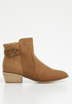 Miss Black - Fabric combo ankle boot - brown