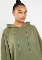 Missguided - Oversized hooded sweat dress - green