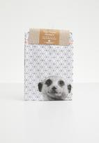 Present Time - Raster meerkat tea towel - white