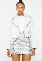 Missguided - Biker jacket with faux fur collar - grey