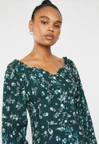 Missguided - Button midi dress - green