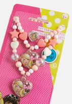 Character Fashion - Barbie 3 piece beaded necklace, bracelet & ring  set - pink & white
