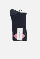Hysteria - Madda knee high socks - navy & pink