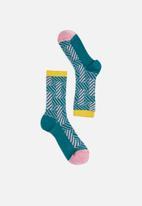 Hysteria - Greta crew socks - blue