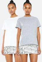 Superbalist - 2 pack drop shoulder tee - white & grey
