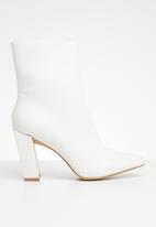 Missguided - Ring pull zip boot cox calf - white
