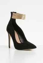 Call It Spring - Melochina metallic ankle strap stiletto heel - black & gold