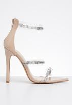 Public Desire - Faux leather ankle strap embellished heel - neutral