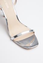 Public Desire - Faux leather ankle strap heel - silver