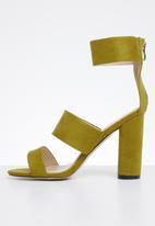 Public Desire - Faux suede ankle strap block heel - dark mustard