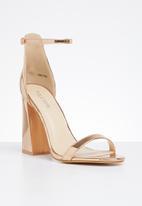 Public Desire - Faux leather ankle strap block heel - rose gold