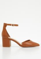 ALDO - Leather ankle strap block heel - tan