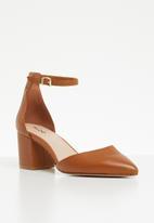 c296e293060 Keclya leather ankle strap pointed block heel - cognac ALDO Heels ...